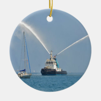 Yacht Zig Zag And Tug Double-Sided Ceramic Round Christmas Ornament