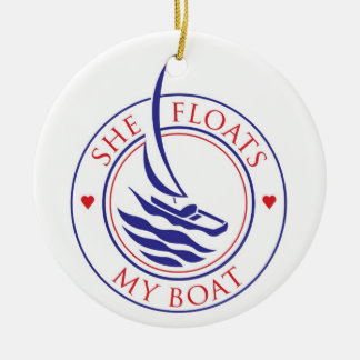 YachTees_She Floats My Boat necklace Ceramic Ornament