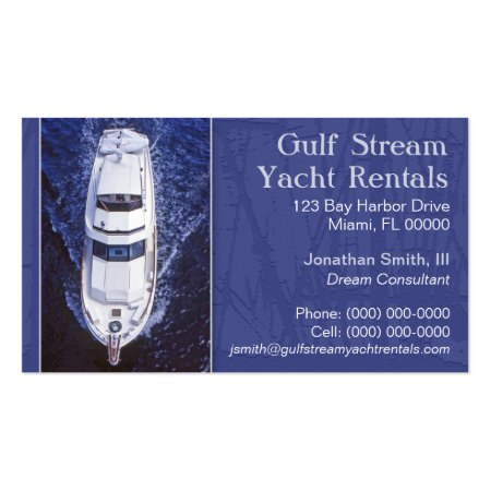 Stylish Blue Yacht Rentals Business Cards