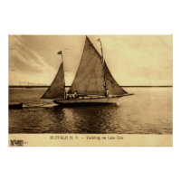 Yachting on Lake Erie, Buffalo NY 1909 vintage Poster