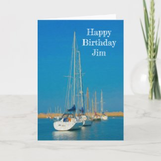 Yachts in a Row Painting Birthday Card