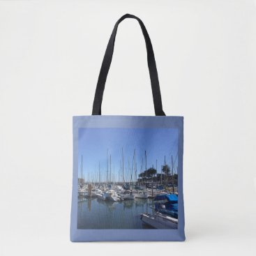 Beach Themed Yacht's in Harbor Tote Bag
