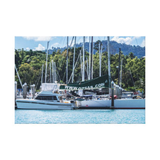 Yachts In The Marina Wrapped Canvas