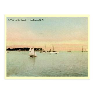 Yachts on the Sound, Larchmont, New York Vintage Postcard