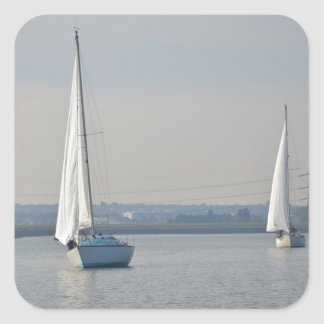 Yachts Racing In Light Airs Square Sticker