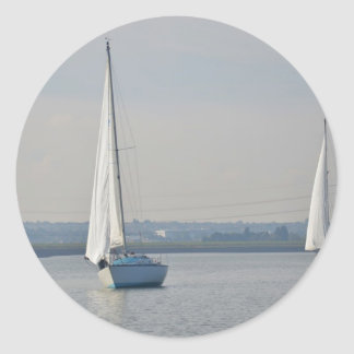 Yachts Racing In Light Airs Classic Round Sticker