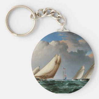 Yachts Rounding the Mark Key Chains