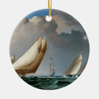 Yachts Rounding the Mark Christmas Tree Ornaments