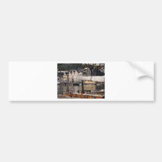 Yacht's smoking chimney. bumper stickers