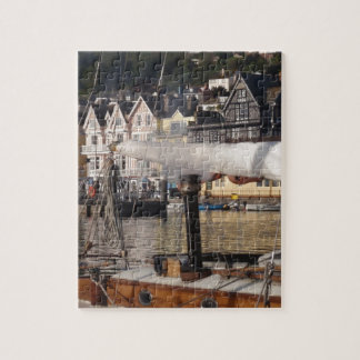 Yacht's smoking chimney. jigsaw puzzle