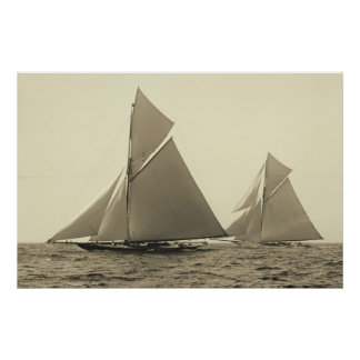 Yachts Valkyrie II and Vigilant Race for America's Poster