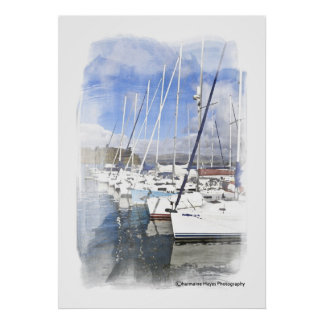 Yachts Watercolour Photographic Print
