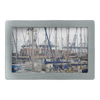 Yachts With Container Ships Rectangular Belt Buckle