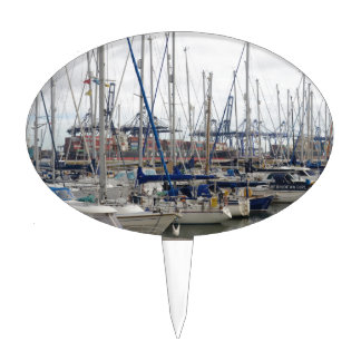 Yachts With Container Ships Cake Picks