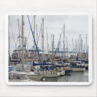 Yachts With Container Ships Mouse Pad