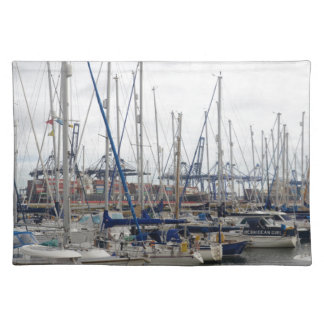 Yachts With Container Ships Cloth Placemat
