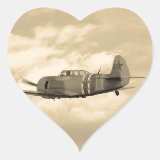 Yacs 11 en vuelo calcomanía corazón