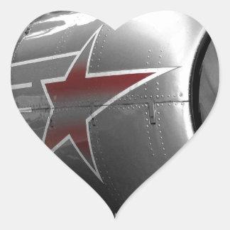 Yacs rojos 52 de la estrella pegatina en forma de corazón