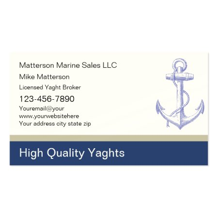 Marine Sales Simple Anchor Yacht Broker Business Cards