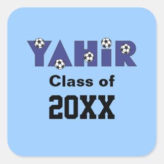 Yahir en azul del fútbol pegatina cuadrada