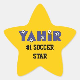 Yahir en azul del fútbol calcomanía forma de estrella personalizadas