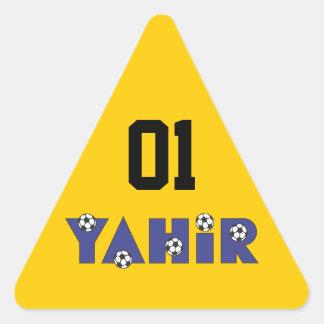 Yahir en azul del fútbol calcomanías de trianguladas