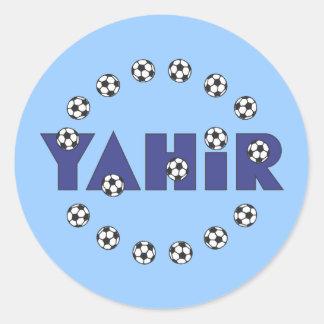 Yahir en azul del fútbol etiqueta redonda