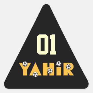 Yahir en oro del fútbol calcomania de trianguladas