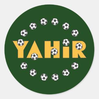 Yahir en oro del fútbol etiqueta redonda