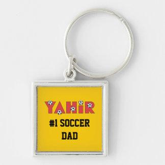 Yahir en rojo del fútbol llavero cuadrado plateado