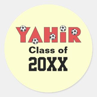 Yahir en rojo del fútbol etiqueta redonda