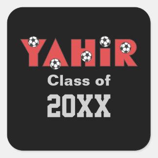 Yahir en rojo del fútbol pegatina cuadrada