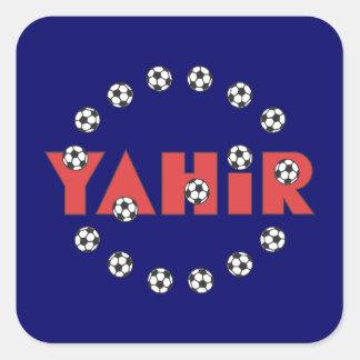 Yahir en rojo del fútbol calcomanía cuadradase