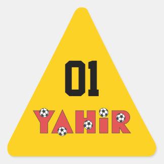 Yahir en rojo del fútbol calcomanías trianguloes