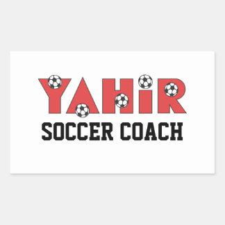 Yahir en rojo del fútbol rectangular pegatinas