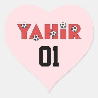 Yahir en rojo del fútbol calcomanías de corazones