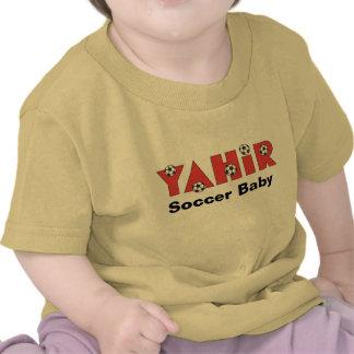 Yahir en rojo del fútbol camiseta