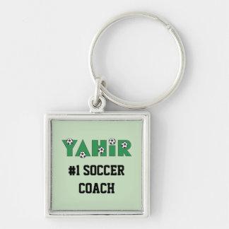 Yahir en verde del fútbol llavero cuadrado plateado