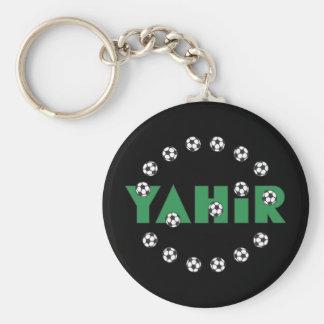 Yahir en verde del fútbol llavero redondo tipo pin