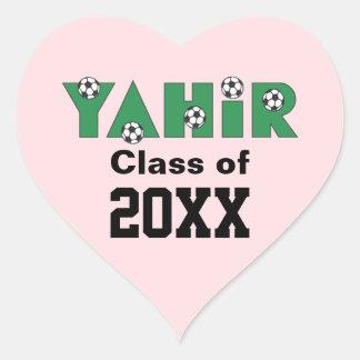 Yahir en verde del fútbol pegatina corazón personalizadas
