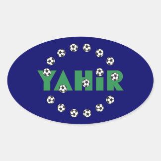 Yahir en verde del fútbol pegatina de oval