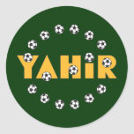 Yahir in Soccer Gold Classic Round Sticker