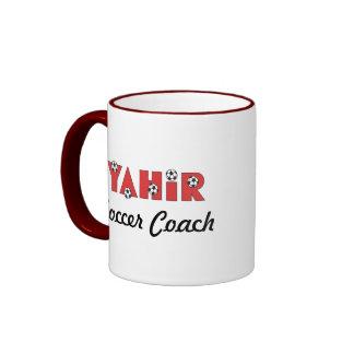 Yahir in Soccer Red Ringer Coffee Mug