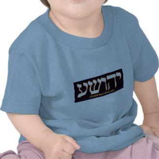 Yahushua Jesús con las letras calientes que bril Camisetas