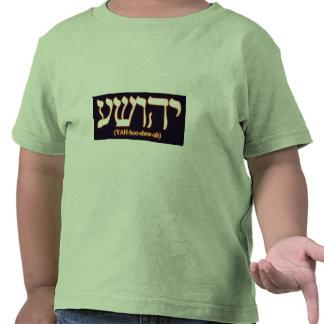 Yahushua Jesús con las letras calientes que bril Camiseta