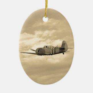 Yak 11 In Flight Double-Sided Oval Ceramic Christmas Ornament