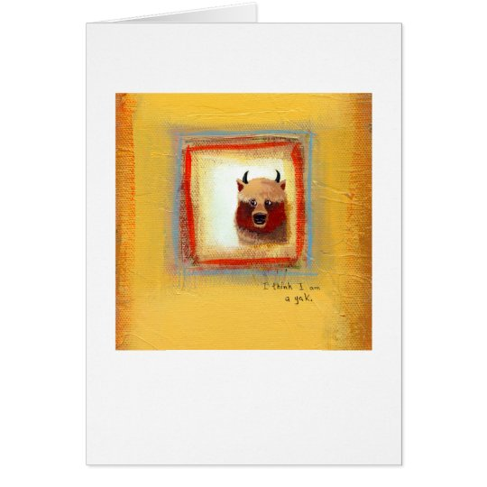 Yak art 2 yaks fun silly cute original painting card