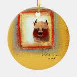 Yak art 2 yaks fun silly cute original painting christmas ornament
