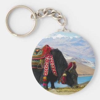 Yak Bos Grunniens near Yamdrok lake Tibet Basic Round Button Keychain