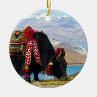 Yak Bos Grunniens near Yamdrok lake Tibet Double-Sided Ceramic Round Christmas Ornament